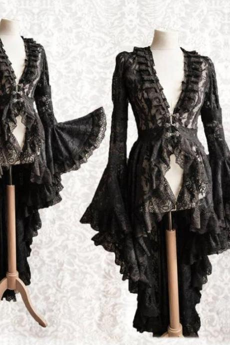 Black Medieval Clothes Ruffled Black Capes Black Cardigan for Women Renaissance Festivals Outfit