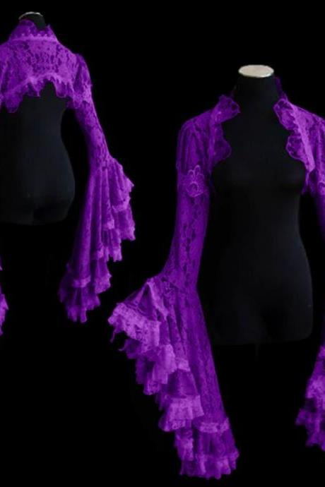 Purple Shrugs for Women Medieval Clothes Ruffled Capes Purple Cardigan for Women Renaissance Festivals Outfit
