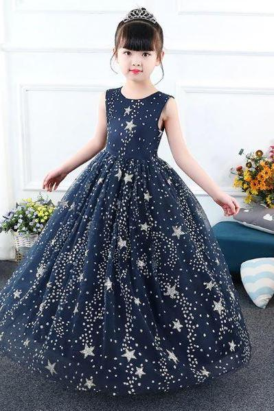Formal Dress for Girls Star Dress Patriotic Dress for Girls Singing Girls Ankle Length Dress Elegant Navy Blue Dress with Stars FREE TIARA