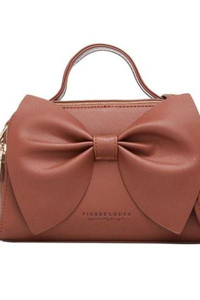 Rsslyn Collection of Leather Purses Small Brown Bag with Big Bow