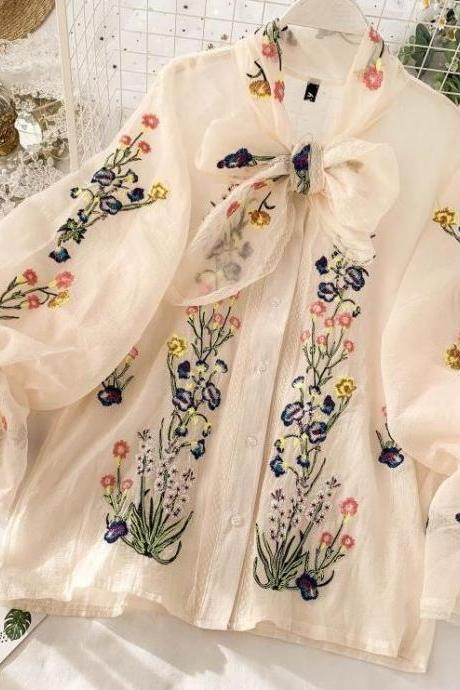 New Fashion Tops for Women French Style Embroidery Flowers and Roses-Ivory Cream Blouses for Women-Loose Fit Type