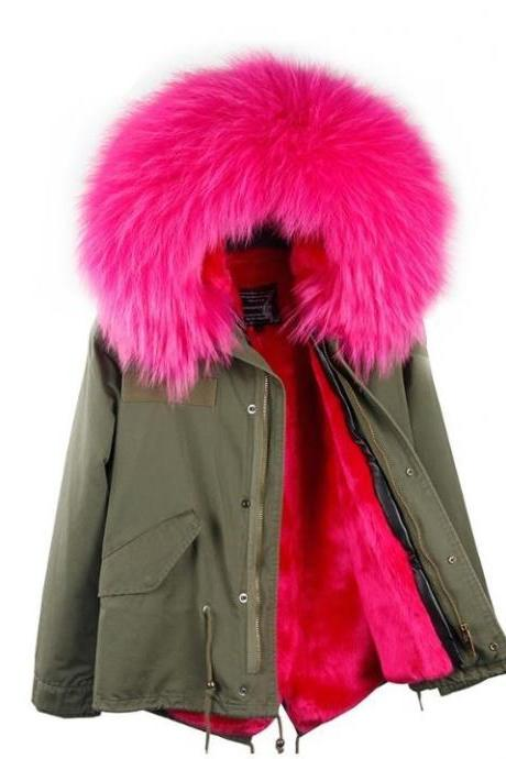 FREE CC BROOCH for this Green Military Parka with Warm Hotpink Thick Fur Lining Hooded Parkas for Women Birthday Girft