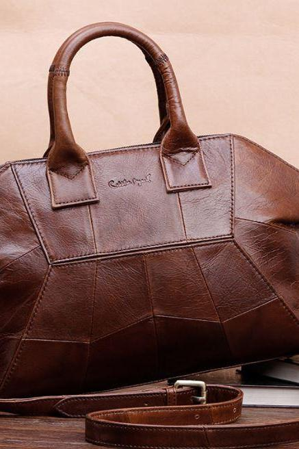 FREE CC BROOCH-REAL LEATHER BAGS Brown Leather Bags Exquisite Luxury Bags for Mother's Day Gift for Wifey