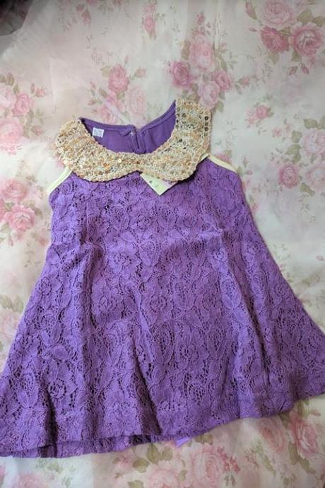 FREE SHIPPING SALE! Newborn Purple Dress for Baby Girls Sequined Collar Sleeveless Purple Dresses