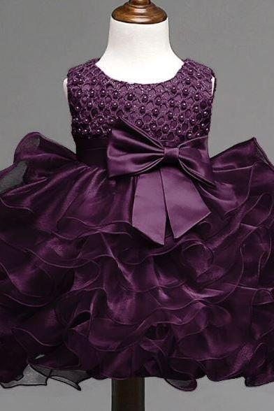 Purple Tiered Dress for Baby Girls 6-9 Months