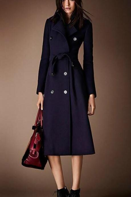 FREE SHIPPING AND FREE CC BROOCH for Navy Blue Coat for Women-Winter Trench Coats for Women Navy Blue Long Overcoats