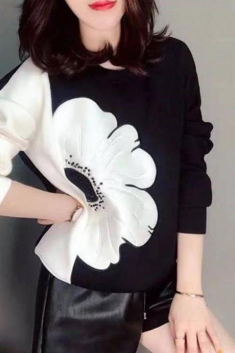 FREE SHIPPING Black Sweater for Women Two Color Contrast with Giant Flower Black Blouse for Women Black Sweater Tops