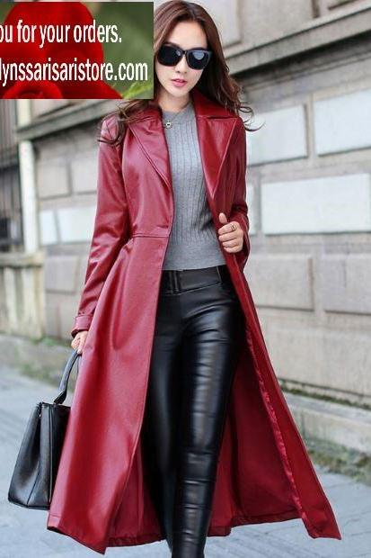 Deluxe Red Long Leather Trench Coats for Women Red Trench Coats Windbreaker Cool Looking Women Red Winter Overcoats