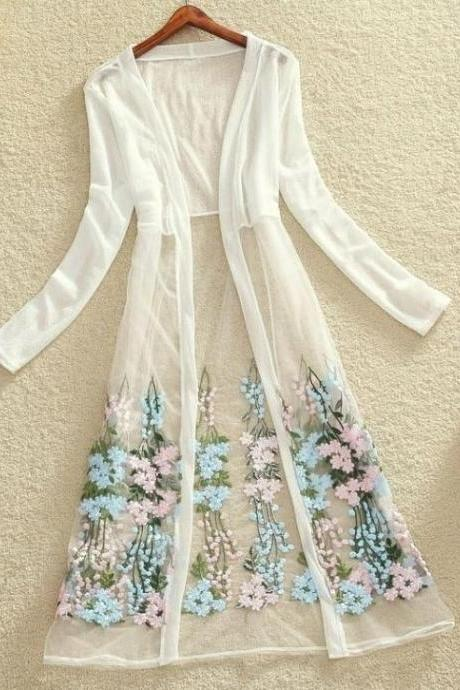 New Summer Dress Summer Cardigan for Women Floral Kimono Maxi Kimono White Cardigan for Women Sheer White Kimono Dresses