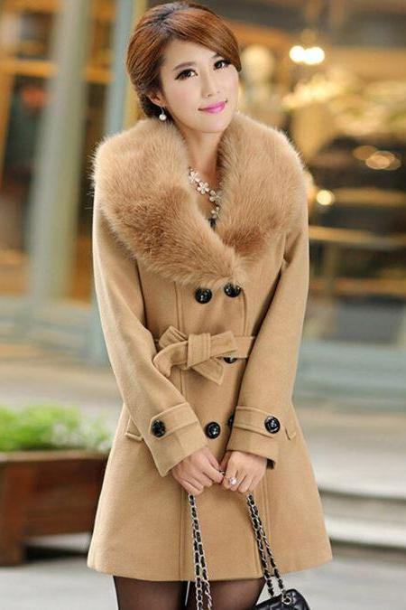 Free Shipping Deluxe Brown Overcoats for Women Wool Brown Detachable Fur Brown Trench Coats for Women Brown Winter Coats Woolen Material