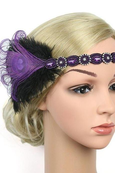 Purple Feather Diamonds Hair Accessories Flapper Headband Vintage Headpiece-Peacock Feathers