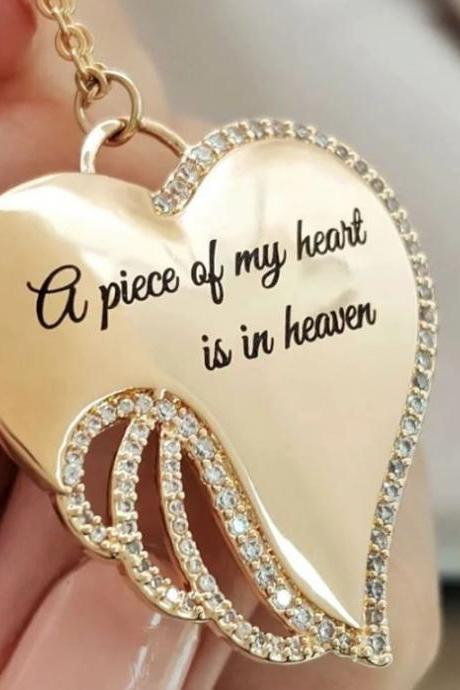 New Jewelry A Piece of My Heart is in Heaven Angel Necklace Memory Necklaces for Women
