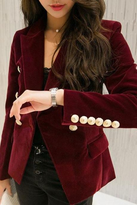 Ready for Shipping Burgundy Jackets Burgundy Blazers Red Velvet Coats for Women Winter Jackets with Golden Buttons