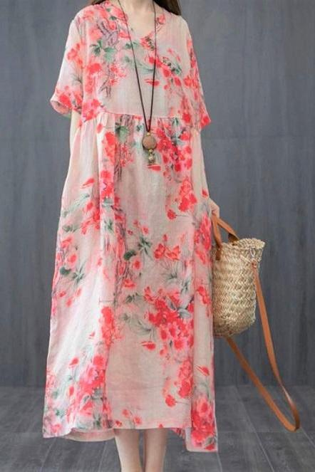 Rsslyn Beach Dresses Floral Linen Pretty Maxi Dress for Women Loose Plus Size Clothes