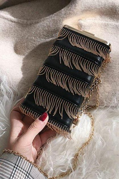 Free Shipping Phone Bags New Fashion Beaded Black Phone Wallet Bags Black Tassel Bags Black Clutch for Women