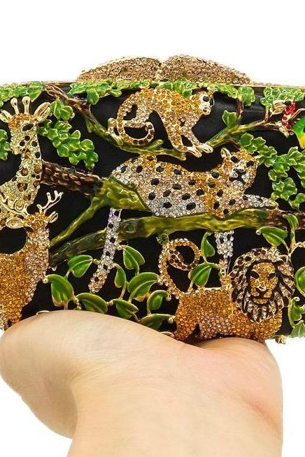 RudelynsSariSariStore.com Leopard Clutch for Women Luxury Crystal Clutch for Prom Social Gathering Beautiful Leopard Crystal Bags