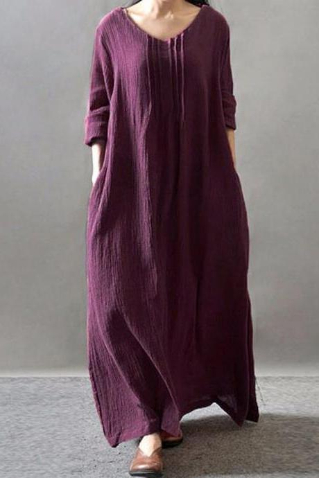 New Linen Vintage Dress for Women V-Neck Long Sleeve Casual Loose Purple Maxi Dresses Plus Size L-5XL