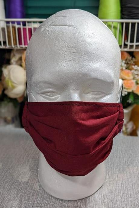 Burgundy Masks for Women Burgundy Mask for Men Red Wine Color Non-Surgical Pleated Masks-2 Burgundy 2 Black Solid Color
