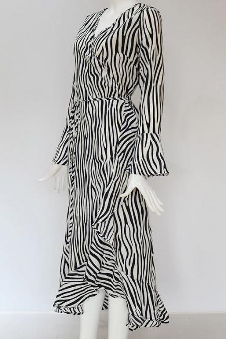 New Clearance Sale Black Dress for Women Zebra Stripes Ruffled Edges New Black Robes
