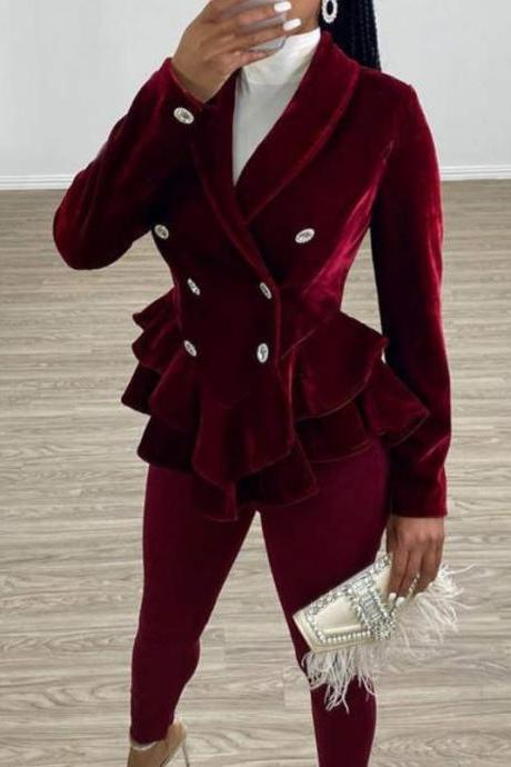 New Red Velvet Blazers for Women Burgundy Jackets Ruffled Jacket Accentuate The Waistline