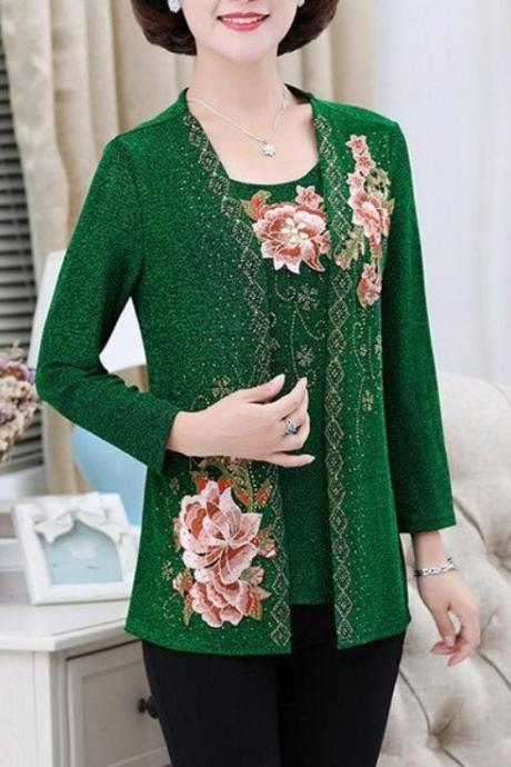 2pcs/SET Green Cardigan and Blouse Fashion Green Tops for Women Green Sweaters for Women New Green Tees Plus Size Sweaters