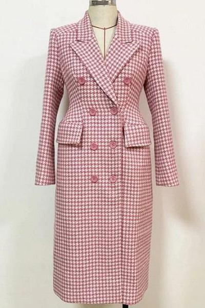 Rsslyn High-Quality Brand Pink Trench Coats Pink Wool Overcoats for Women