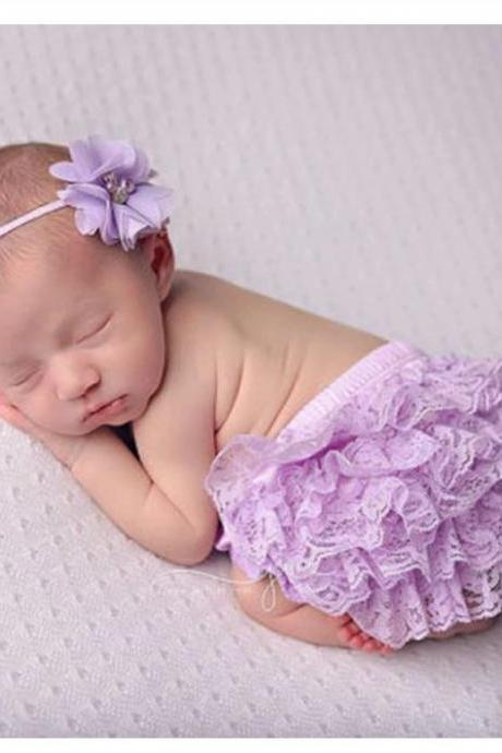 Newborn Props for Girls New Lavander Skirt and Lavander Headband Set for Newborn Girls Photography Props