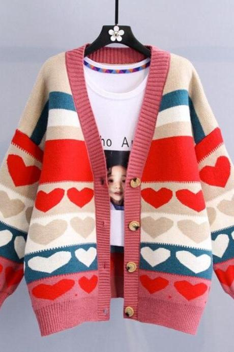 Loose Fitting Plus Size Sweaters Knitted Cardigan for Women-Heart Pattern knitted Hearts Multicolor Sweaters for Women-Winter Coats for Women-RSS SWEATERS AND CARDIGAN