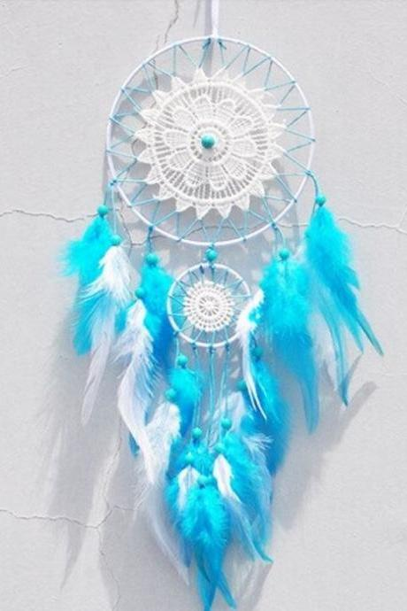 Bright Color Feathers Dream Catcher Collections Turquoise Feathers-Hanging Decoration for Patio-Turquoise Blue Dream Catchers