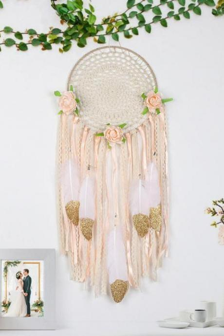 Some Hint of Gold Ivory Peach Color Dream Catcher Collections Hollow Circular Pattern Feathers-Hanging Decoration for Nursery- Dream Catchers for Living Room