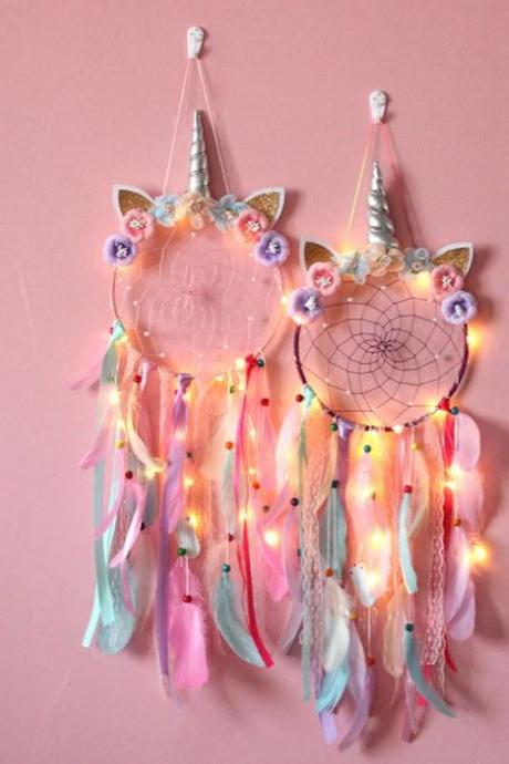 Nursery Decoration Dream Catcher with Lights-Hanging Wall Decoration for Nursery-Luminous Unicorn Wind Bells Wall Hanging Catching Monternet