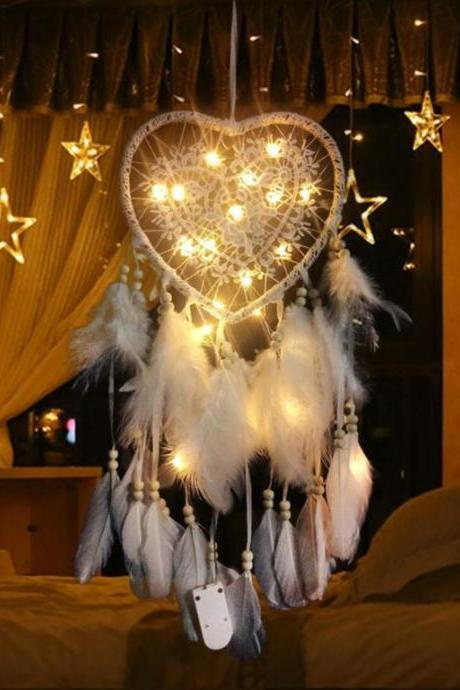 Heart Shape Window Dream Catchers with LED Lights Soft Feathers-Purest Dreams in White Feathers Handmade Dream Catchers- Front Door Lighting Decoration