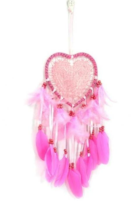 Dream Catchers with LED Lights Soft Feathers-Pink Feathers Handmade Dream Catchers- Nursery Lighting Decoration