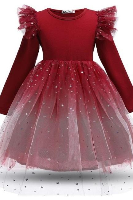 Stars Red Girls Dresses for Christmas Princess Costume Long Sleeve Dress for Girls Frocks Dress-Dress with Stars-Christmas Outfit Props