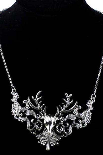 Christmas Jewelries Antler Deer Necklace Unique Vintage Necklace-Christmas Gift Fashion Vintage Antique Elk Deer Long Maxi Necklaces