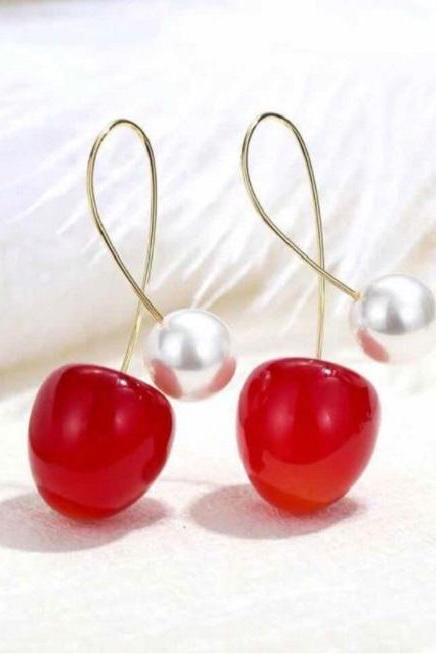 Christmas Red Cherry Fruit Earrings with Pearl Earrings Fashion Fruit Dangle Earrings-Christmas Earrings with Pearls