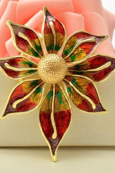 Merry Christmas To You Christmas Brooch for Women-Large Floral Poinsettia Brooch for Christmas Gift Pins and Brooches