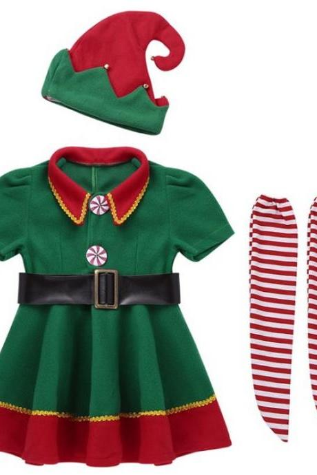 3pcs/ SET Christmas Outfit for Girls Twinning Emilia Clark Green Christmas Dress Set for Toddler Girls-Elf Set Teenage Girls Dresses-Ages 3T Up to 15 Years Old