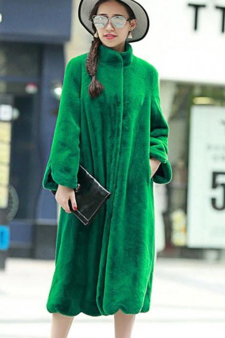 Warm Christmas Overcoats for Women-Turtleneck Pretty Green Christmas Trench Coats Soft Faux Fur-FREE DESIGNER BROOCH-Plus Size Winter Coats
