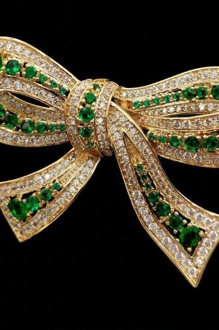 Green Large Bows Merry Christmas To You Christmas Brooch for Women-Large Bow Brooch for Christmas Gift Pins and Brooches