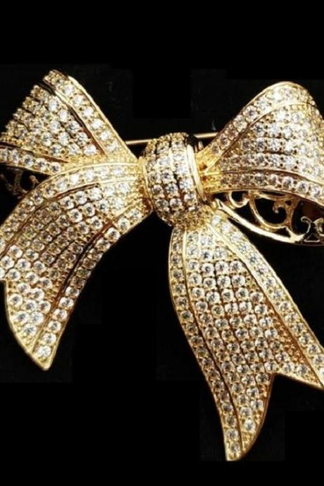 Luxury Large Bows Merry Christmas To You Golden Brooch for Women-Large Brooch for Christmas Gift Pins and Brooches-RCP239K