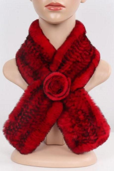 Merry Christmas Red Scarves for Russian Women Knitted Real Rex Rabbit Fur-Wholesale Real Rabbit Fur Softest Neckwarmers of All