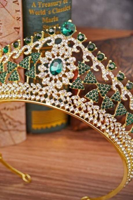 Golden Crowns with Green Crystals-Bow Shape Crystal Merry Christmas Tiaras for Women-Headpiece for Women
