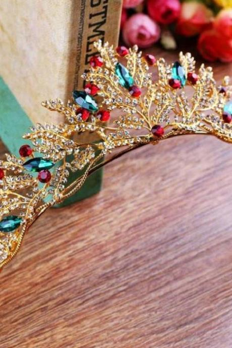 Vintage Golden Crowns with Green Crystals-Adjustable Crowns Beauty Pageant Merry Christmas Tiaras for Women-Headpiece for Women