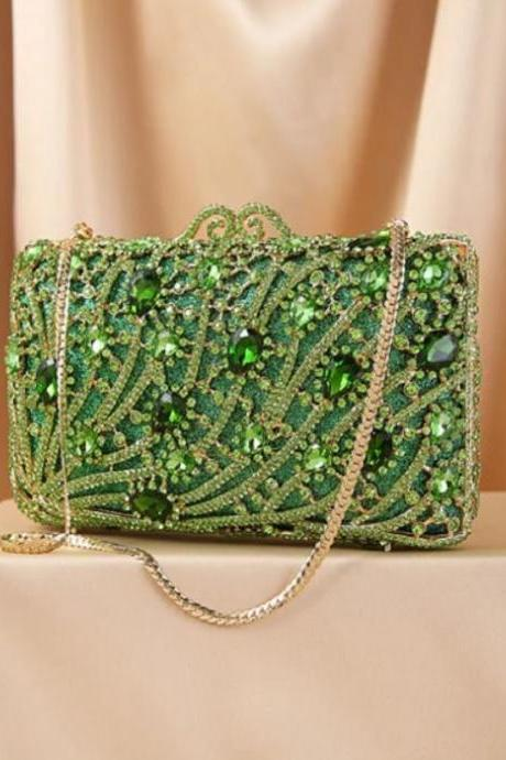 Green Clutches for Women-Christmas Bags with Sparkly Diamond Crystals Hollow Box Bags for Fashion Designer Seeker-Elegant Wedding Bags