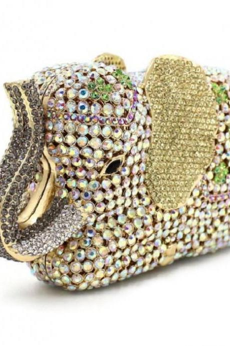 Luxury Elephant Shape Party Bags-Christmas Gift Luxury Clutch Purses-Golden Evening Bags for Prom Party Wedding Parties Golden Elephant
