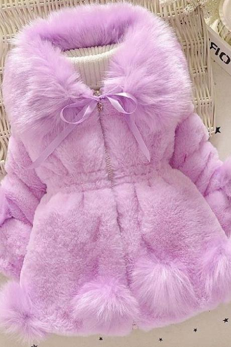 Lavander Coats for Little Girls-Purple Jackets for Infant Fashion Winter Jacket for Infant Baby Girls-Faux Fur Winter Jackets