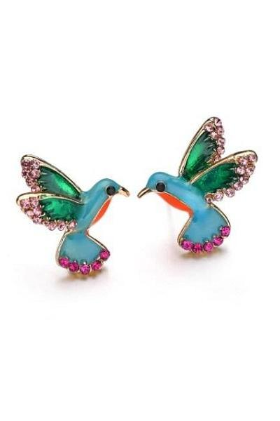 Pretty Hummingbird Earrings for Women Trendy Blue Birds Stud French Clip On Earrings Fashion Earrings-Minimalist Earrings