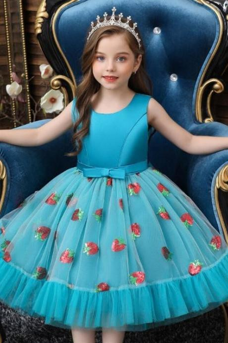 Elegant Dress for 36 Months Princess Strawberry Turquoise Blue Party Dresses for Birthday Girls