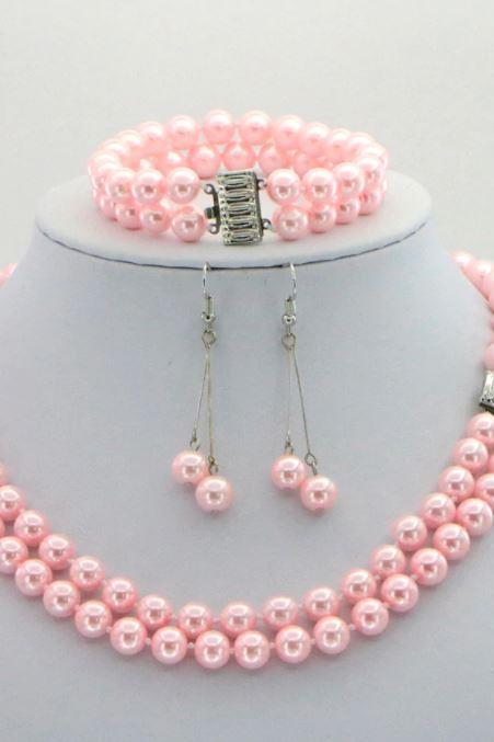 New Bridesmaids Pink Jewelry Set RudelynsSariSariStore.com Solid Pink South Sea Shell Double Pearls Set-Pink Chokers for Women